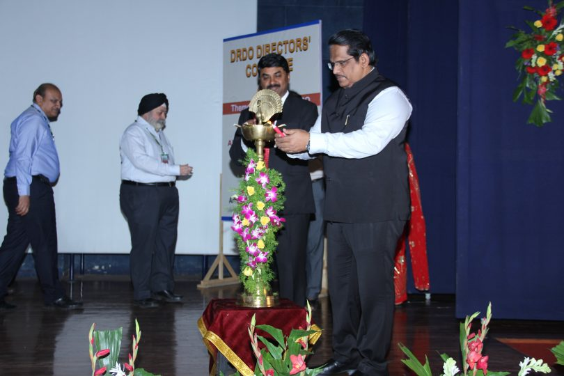 Dr. S. Christopher , Secretary , Dept. of Defence Research and Development and DG DRDO lighting the lamp along with  Dr. G Sateesh Reddy ,Scientific Advisor  to Raksha Mantri.